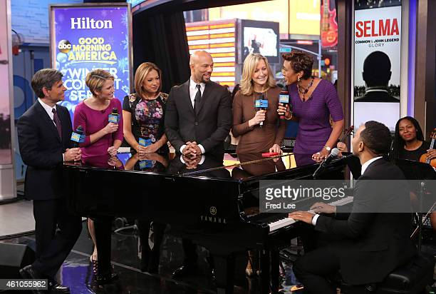 """John Legend and Common perform live on """"Good Morning America,"""" 1/5/14, airing on the Walt Disney Television via Getty Images Television Network...."""