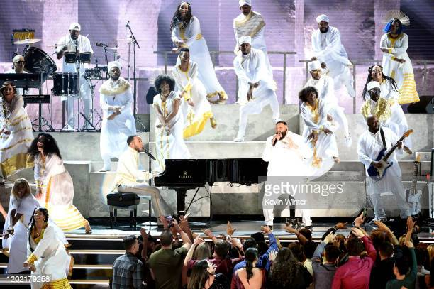John Legend and DJ Khaled perform onstage during the 62nd Annual GRAMMY Awards at STAPLES Center on January 26, 2020 in Los Angeles, California.