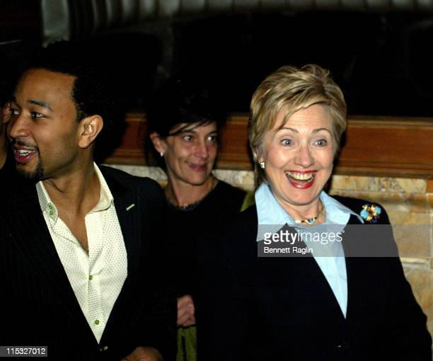 John Legend and Hillary Clinton during Hillary Clinton Fund Raiser with a Performance by John Legend at Capitale in New York New York United States