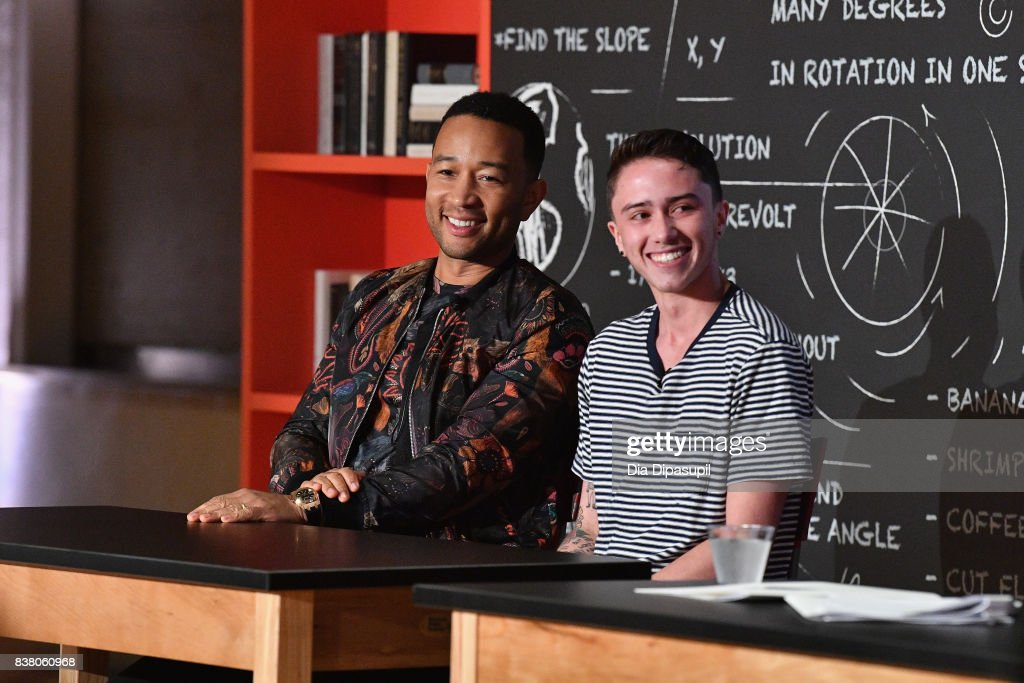 John Legend and Hunter Klugkist speak onstage at the announcement of the AXE Senior Orientation program on August 23, 2017 in New York City.