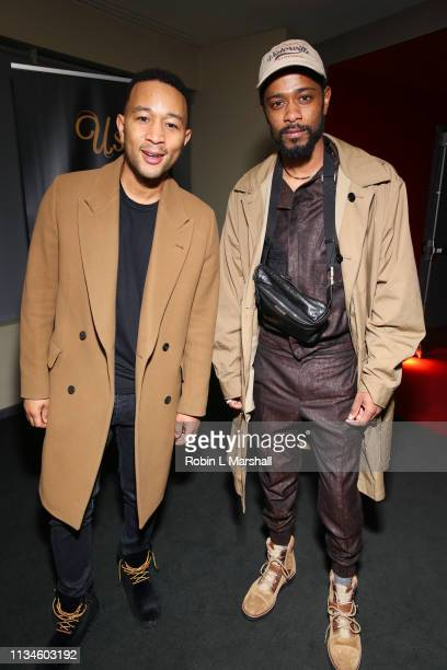 John Legend and Lakeith Stanfield attend Universal US First Screening Los Angeles at Pacific Design Center on March 08 2019 in West Hollywood...