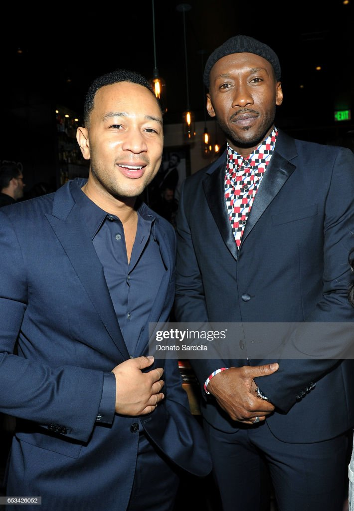 John Legend (L) and Mahershala Ali at the Power Stylists Dinner, hosted by The Hollywood Reporter and Jimmy Choo, on March 14, 2017 in West Hollywood, California.