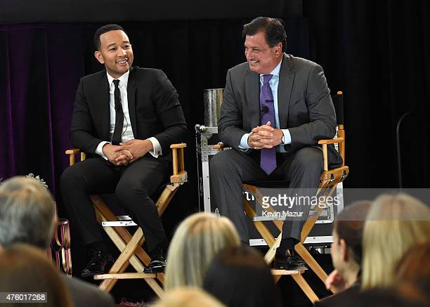 John Legend and Ralph Andretta Head of North America Branded Cards Citigroup speak onstage during Backstage with Citi John Legend Katie Couric at...