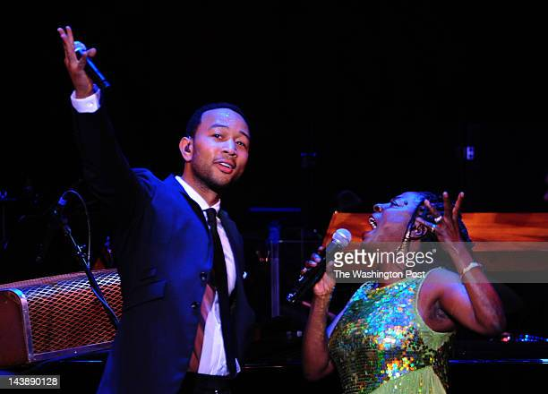 "John Legend and Sharon Jones perform the duets of Marvin Gaye and Tammi Terrell during the program ""What's Going On.....Now"" at the John F. Kennedy..."