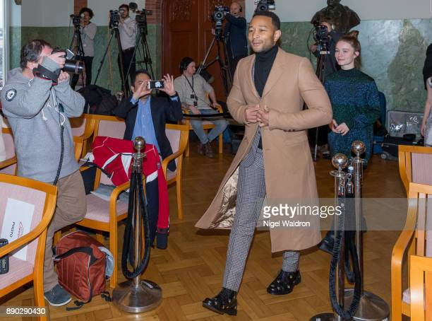 John Legend and Sigrid attend the press conference ahead of the Nobel Peace Prize Concert 2017 at the Norwegian Nobel Institute on December 11 2017...