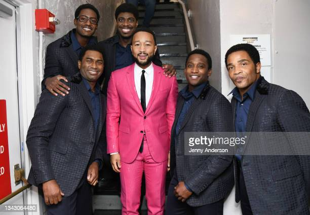 """John Legend and the cast of """"Ain't Too Proud"""" onstage during the 74th Annual Tony Awards at Winter Garden Theatre on September 26, 2021 in New York..."""