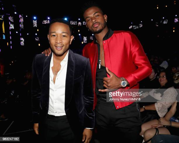 John Legend and Trevor Jackson attend the 2018 BET Awards at Microsoft Theater on June 24 2018 in Los Angeles California