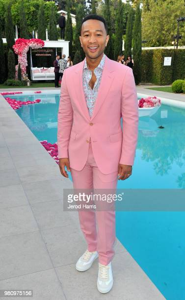 John Legend attends the launch of his new rose wine brand LVE during an intimate Airbnb Concert on June 21 2018 in Beverly Hills California