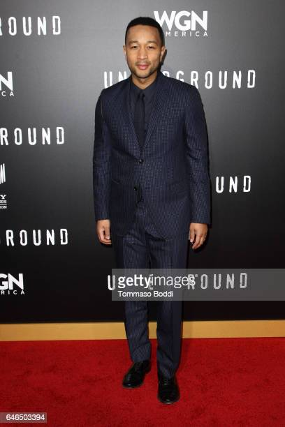 John Legend attends the premiere of WGN America's 'Underground' Season 2 held at the Westwood Village on February 28 2017 in Los Angeles California