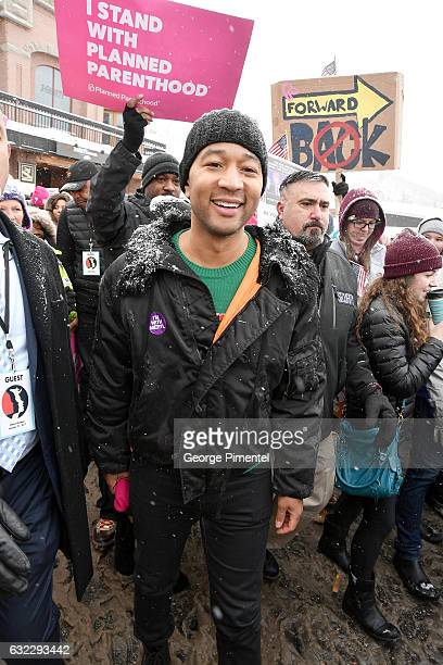 John Legend attends the Women's March on Main Street Park City on January 21 2017 in Park City Utah
