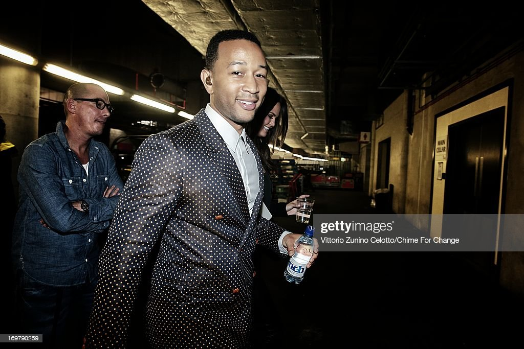 John Legend backstage at the 'Chime For Change: The Sound Of Change Live' Concert at Twickenham Stadium on June 1, 2013 in London, England. Chime For Change is a global campaign for girls' and women's empowerment founded by Gucci with a founding committee comprised of Gucci Creative Director Frida Giannini, Salma Hayek Pinault and Beyonce Knowles-Carter.