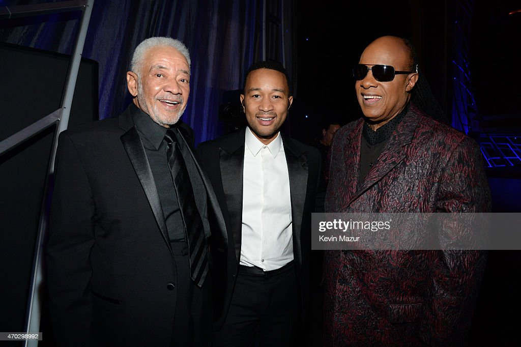 John Legend, Bill Withers, and Stevie Wonder attend the 30th Annual Rock And Roll Hall Of Fame Induction Ceremony at Public Hall on April 18, 2015 in Cleveland, Ohio.