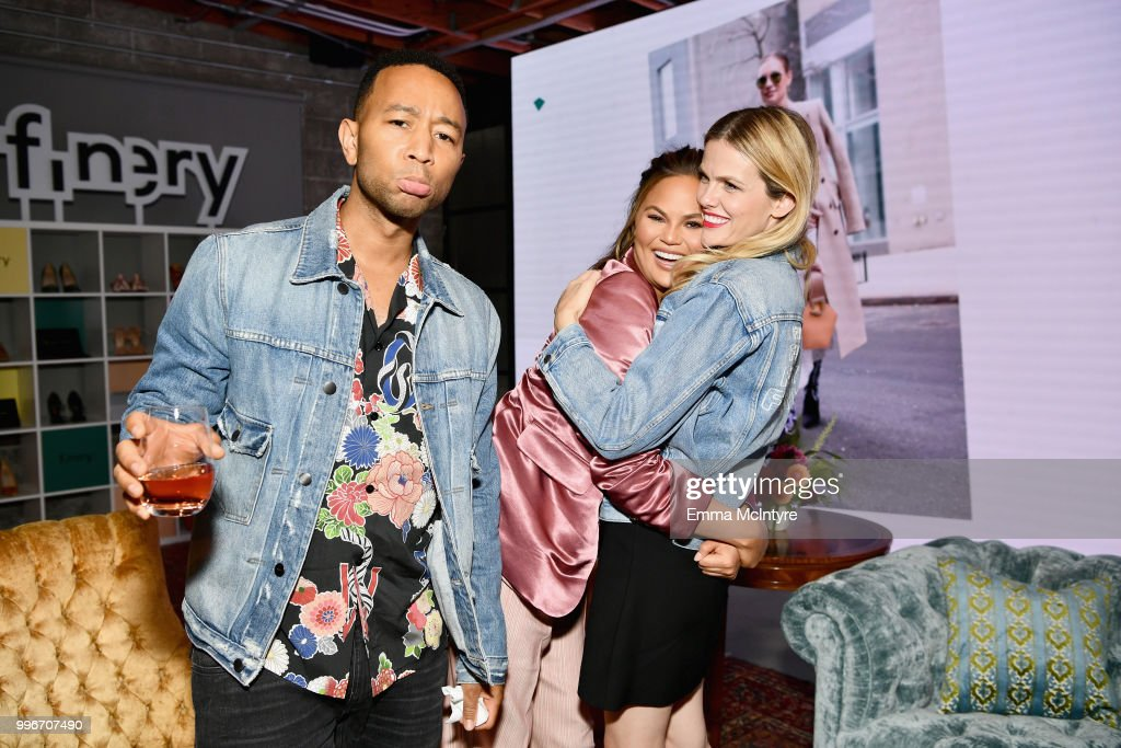John Legend, Chrissy Teigen and Finery Co-Founder Brooklyn Decker attend the Finery App launch party hosted by Brooklyn Decker at Microsoft Lounge on July 11, 2018 in Culver City, California.