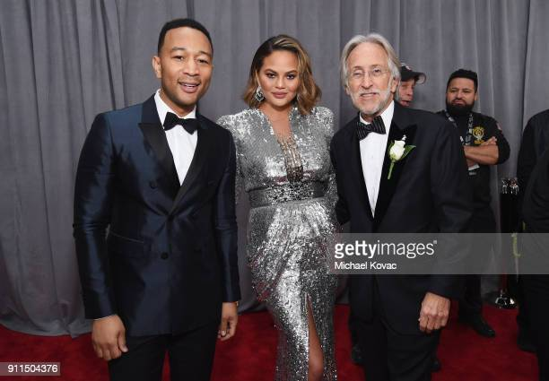 John Legend Chrissy Teigen and Neil Portnow attend the 60th Annual GRAMMY Awards at Madison Square Garden on January 28 2018 in New York City