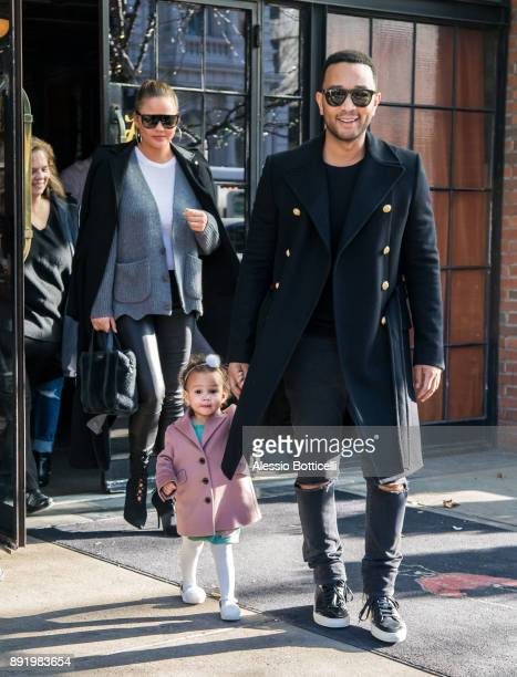 John Legend Chrissy Teigen and their daughter Luna are seen leaving their hotel on December 12 2017 in New York New York