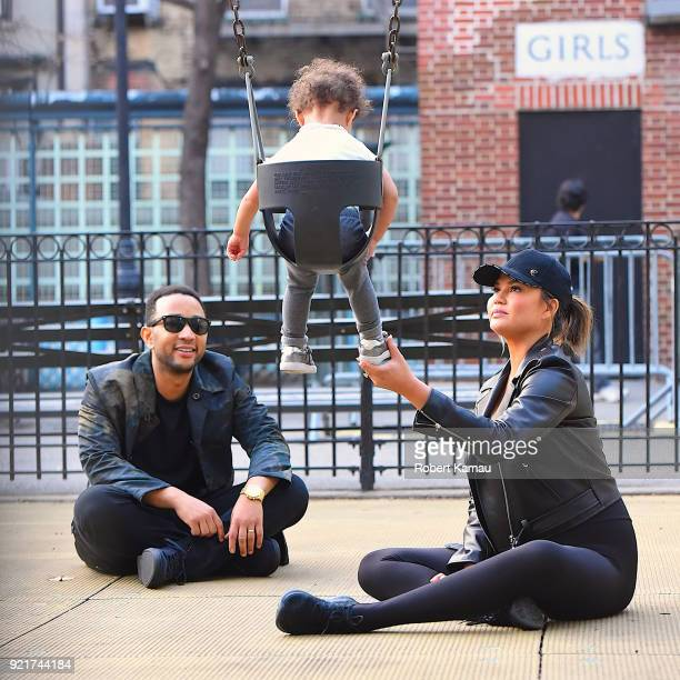 John Legend Chrissy Teigen and their daughter Luna seen at a playground in Manhattan on February 20 2018 in New York City