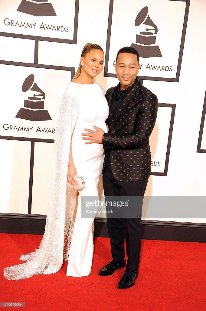 John Legend, Chrissy Teigen attends the 58th GRAMMY Awards at Staples Center February 15, 2016 in Los Angeles, California.