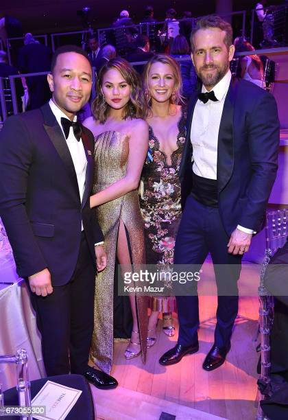 John Legend Chrissy Teigen Blake Lively and Ryan Reynolds attend 2017 Time 100 Gala at Jazz at Lincoln Center on April 25 2017 in New York City