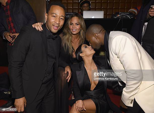 John Legend Chrissy Teigen Kim Kardashian and Kanye West attend John Legend Celebrates His Birthday And The 10th Anniversary Of His Debut Album 'Get...