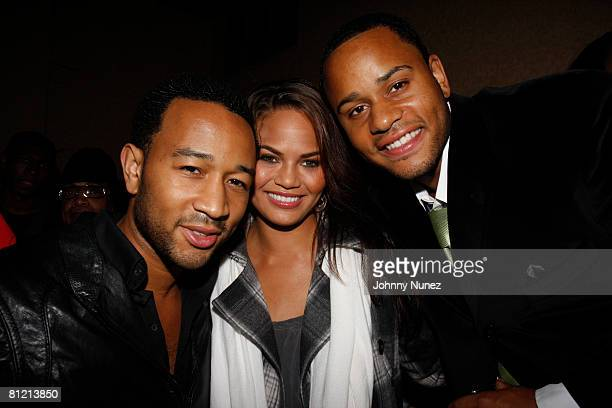 John Legend Christine Teigen and Vaughn Anthony attend Vaughn Anthony's Birthday Bash Hosted by John Legend on May 22 2008 in New York City