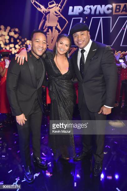 John Legend cohosts Chrissy Teigen and LL Cool J pose onstage during Lip Sync Battle Live A Michael Jackson Celebration at Dolby Theatre on January...