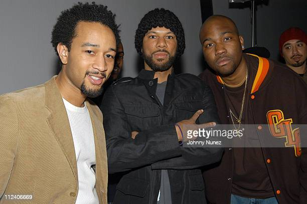 John Legend Common and GLC during Kanye West's 'College Dropout' Video Shoot at Cinema World in Brooklyn New York United States