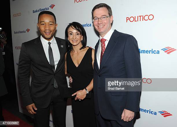 John Legend Elena Allbritton and Robert Allbritton attend An Evening With John Legend hosted by POLITICO to kickoff White House Correspondents'...