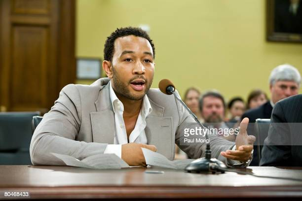 John Legend fivetime Grammy Awardwinning RB singer songwriter and pianist testifies at a House Appropriations hearing on Funding for the Arts at the...