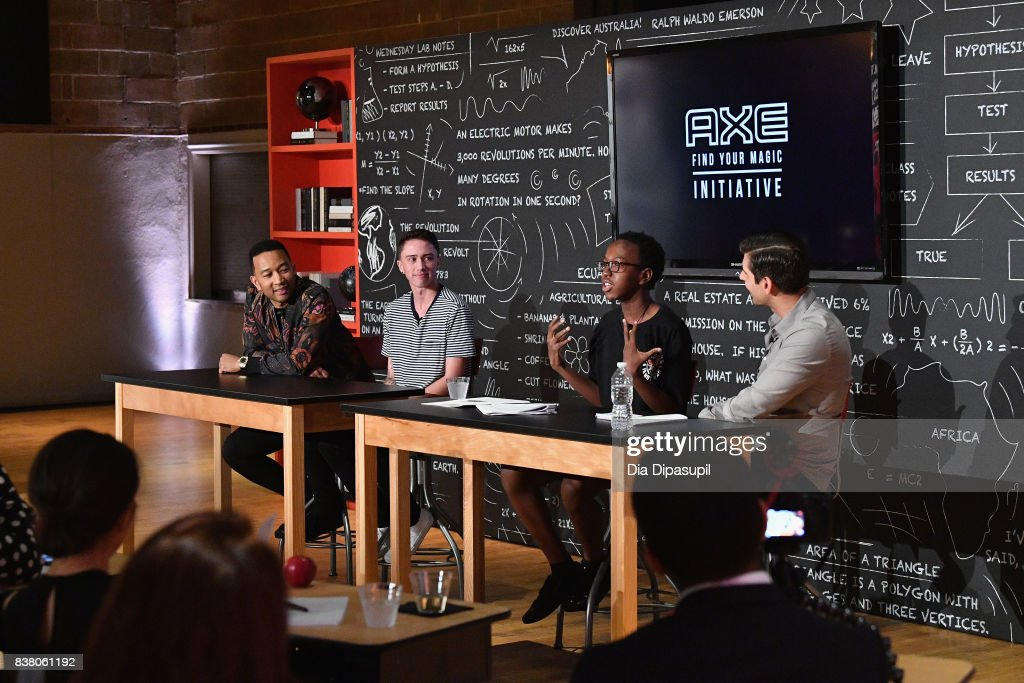 John Legend, Hunter Klugkist, Solomon Mussing, Carlos Andrés Gómez speak onstage at the announcement of the AXE Senior Orientation program on August 23, 2017 in New York City.