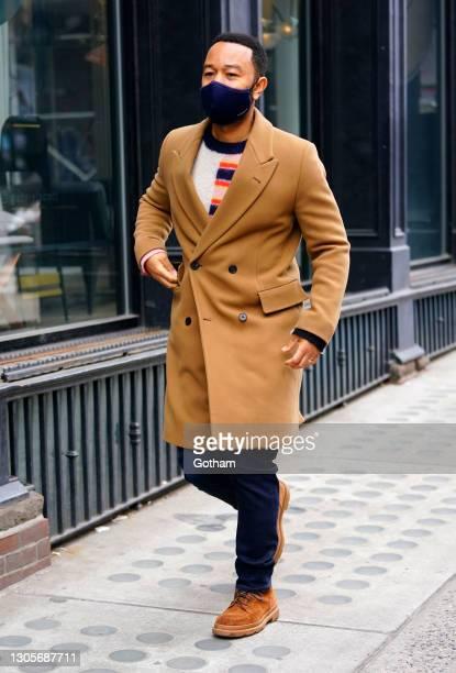 John Legend is seen walking on March 06, 2021 in New York City.
