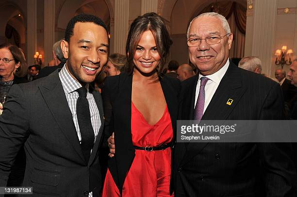 John Legend model Chrissy Teigen and former Secretary of State Colin Powell attend the International Rescue Committee's Annual Freedom Award benefit...