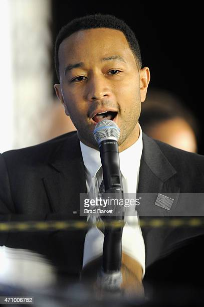 John Legend performs at An Evening With John Legend hosted by POLITICO to kickoff White House Correspondents' weekend at Longview Gallery on April 24...