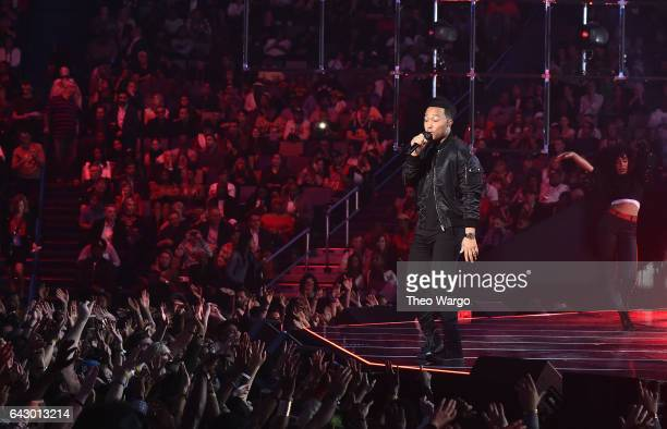 John Legend performs at the 66th NBA AllStar Game at Smoothie King Center on February 19 2017 in New Orleans Louisiana