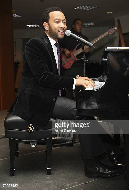 John Legend performs at the opening of The Ralph Lauren Men's Shop at Saks Fifth Avenue October 24, 2006 in New York City.