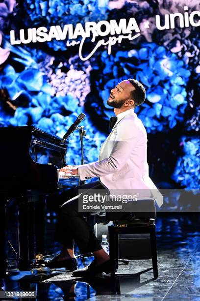 John Legend performs during the LuisaViaRoma for Unicef event at La Certosa di San Giacomo on July 31, 2021 in Capri, Italy.