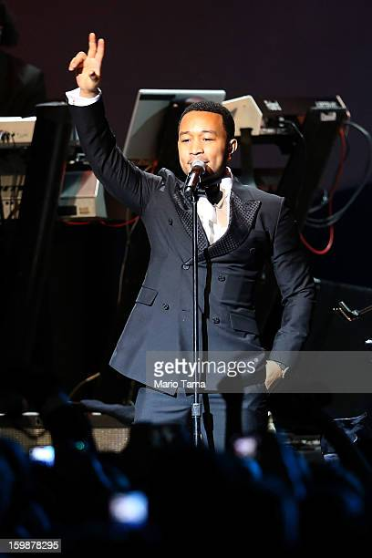 John Legend performs during the Public Inaugural Ball at the Walter E. Washington Convention Center on January 21, 2013 in Washington, DC. U.S....