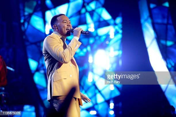 John Legend performs on stage at the 2019 iHeartRadio Music Awards which broadcasted live on FOX at the Microsoft Theater on March 14 2019 in Los...