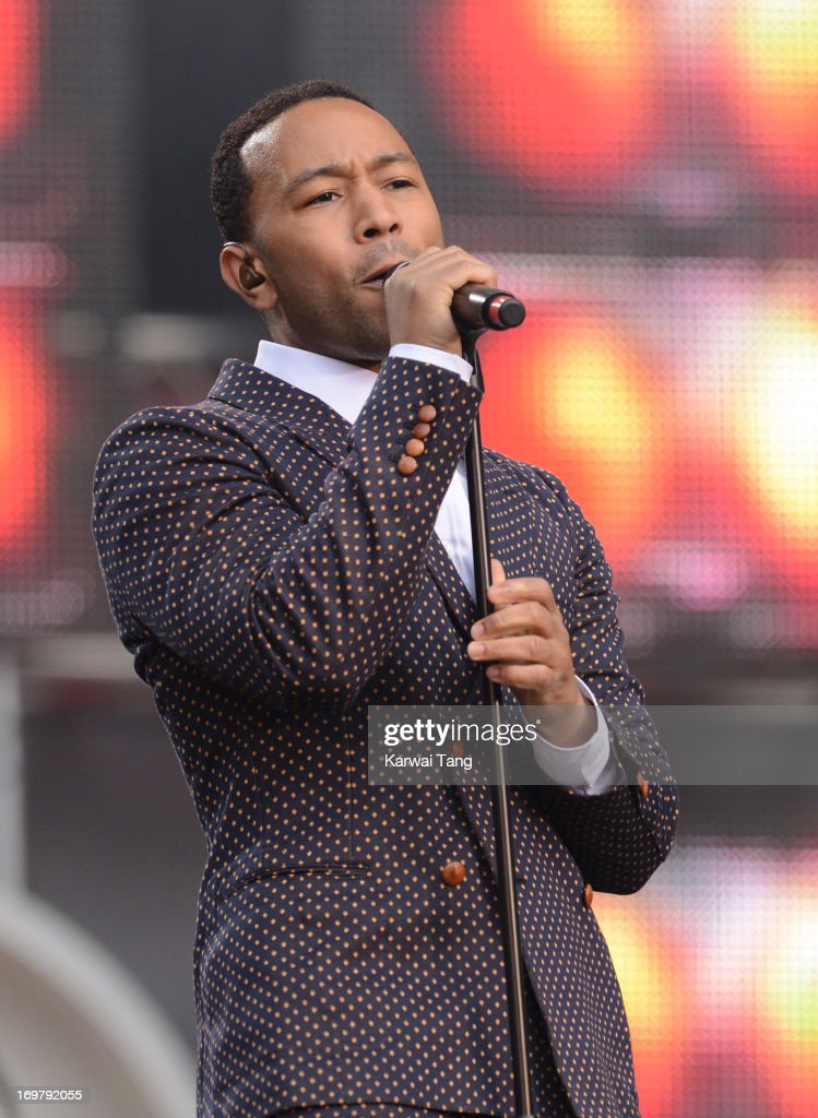 John Legend performs on stage at the 'Chime For Change: The Sound Of Change Live' Concert at Twickenham Stadium on June 1, 2013 in London, England. Chime For Change is a global campaign for girls' and women's empowerment founded by Gucci with a founding committee comprised of Gucci Creative Director Frida Giannini, Salma Hayek Pinault and Beyonce Knowles-Carter.