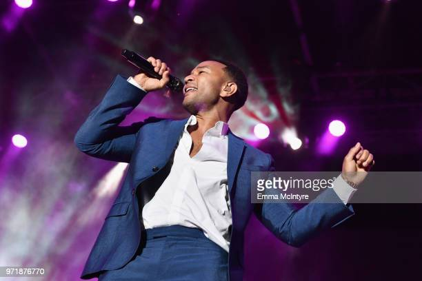 John Legend performs on stage at the Fourth Annual Los Angeles Dodgers Foundation Blue Diamond Gala at Dodger Stadium on June 11 2018 in Los Angeles...
