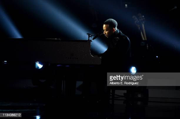 John Legend performs onstage at AllStar Lineup Pays Tribute At 'Aretha A GRAMMYCelebration For The Queen Of Soul at The Shrine Auditorium on...