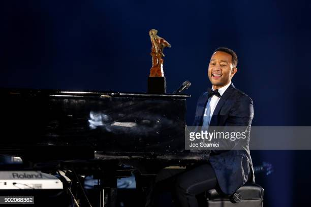 John Legend performs onstage at Moet Hennessy John Legend's HEAVEN with the Art of Elysium at Barker Hangar on January 6, 2018 in Santa Monica,...