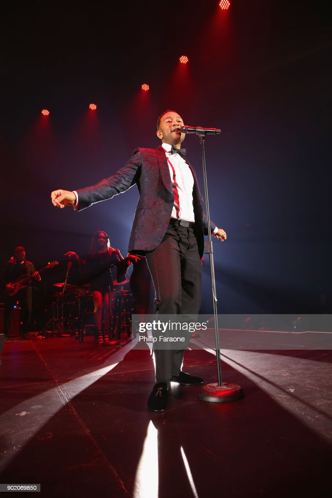 John Legend performs onstage at The Art of Elysium presents John Legend's HEAVEN at Barker Hangar on January 6, 2018 in Santa Monica, California.