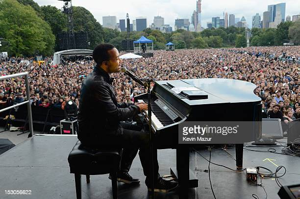 John Legend performs onstage at the Global Citizen Festival at Central Park Great Lawn on September 29 2012 in New York City