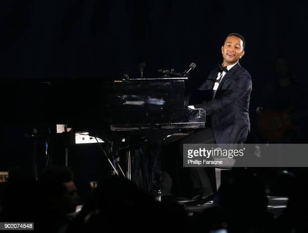 John Legend performs onstage during The Art of Elysium presents John Legend's HEAVEN at Barker Hangar on January 6 2018 in Santa Monica California