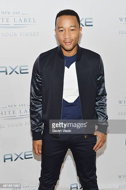 John Legend poses backstage during the AXE White Label Collective launch at The Garage in NYC Starting January 20 AXE and Legend invite emerging...