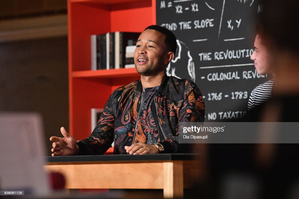 John Legend speaks onstage at the announcement of the AXE Senior Orientation program on August 23, 2017 in New York City.