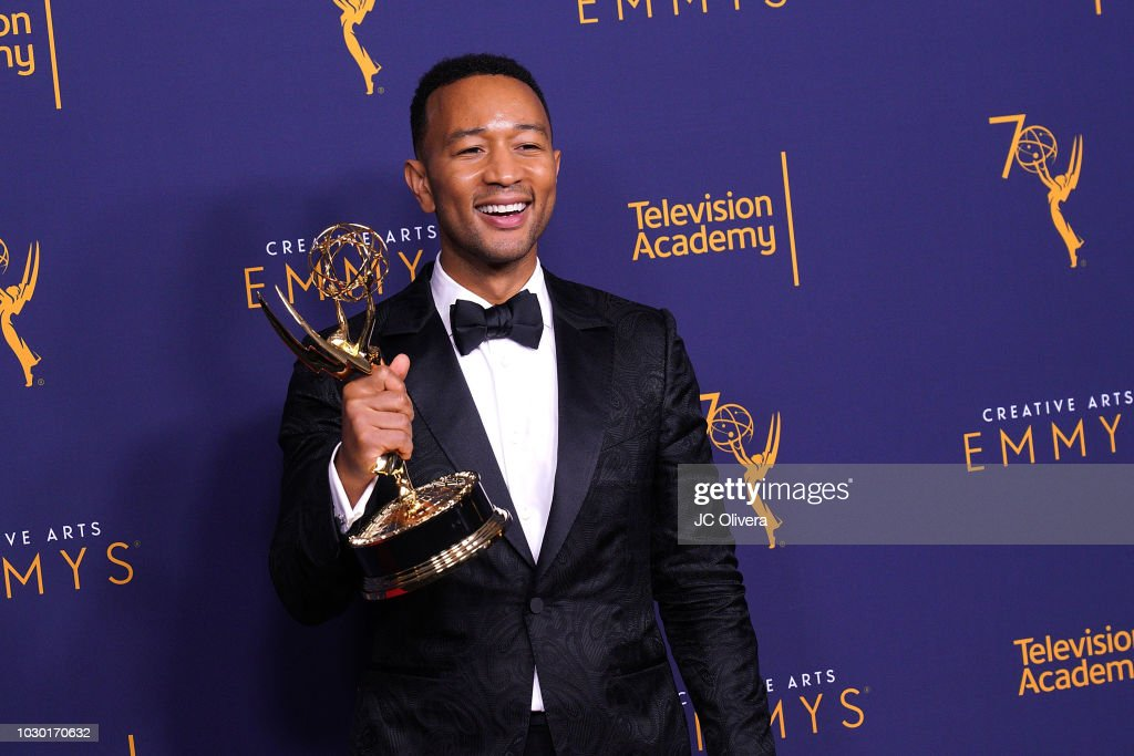 John Legend, winner of the award for outstanding variety special for 'Jesus Christ Superstar Live in Concert', poses in the press room during the 2018 Creative Arts Emmy Awards at Microsoft Theater on September 9, 2018 in Los Angeles, California.