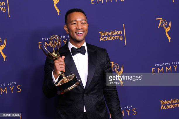 John Legend winner of the award for outstanding variety special for 'Jesus Christ Superstar Live in Concert' poses in the press room during the 2018...