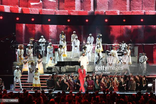 John Legend YG and DJ Khaled perform onstage during the 62nd Annual GRAMMY Awards at STAPLES Center on January 26 2020 in Los Angeles California