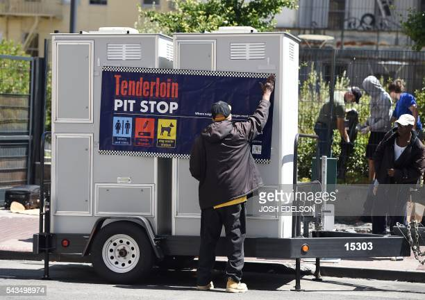 John Leggett helps to install portable toilets in the Tenderloin district of San Francisco California on Tuesday June 2016 The Tenderloin district is...